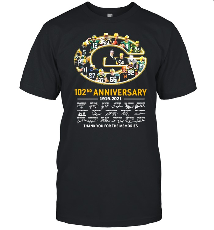 102nd Anniversary 1919 2021 Green Bay Packers Thank You For The Memories Signature shirt Classic Men's T-shirt