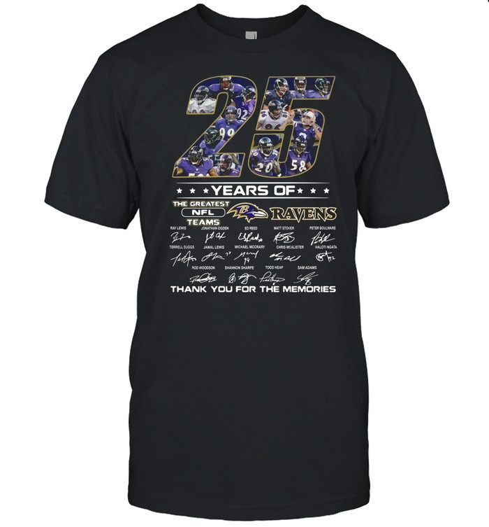 25 Years Of The Greatest Nfl Teams Ravens Thank You For The Memories Signature shirt Classic Men's T-shirt