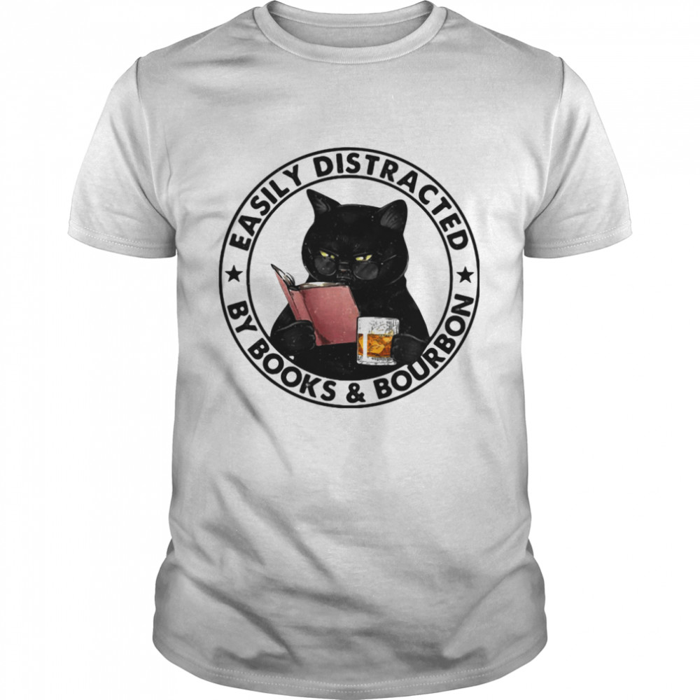Easily Distracted By Books And Bourbon Cat shirt Classic Men's T-shirt