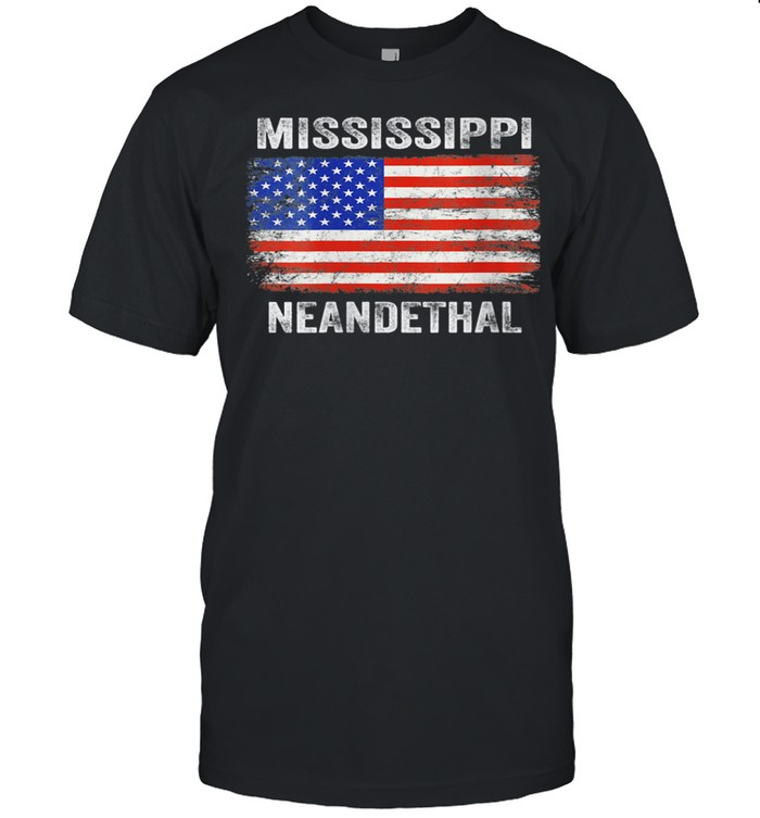 Vintage American Flag Proud Mississippi Neanderthal shirt Classic Men's T-shirt