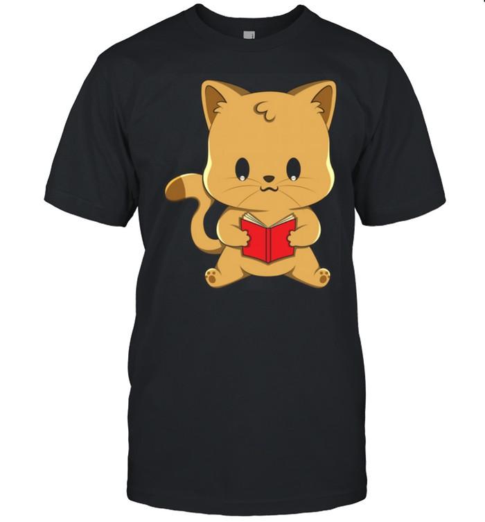 Cat Reading Book Kawaii Anime Japanese  Classic Men's T-shirt