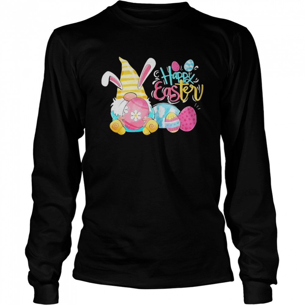 Lovely bunny gnome rabbit happy eggs shirt Long Sleeved T-shirt