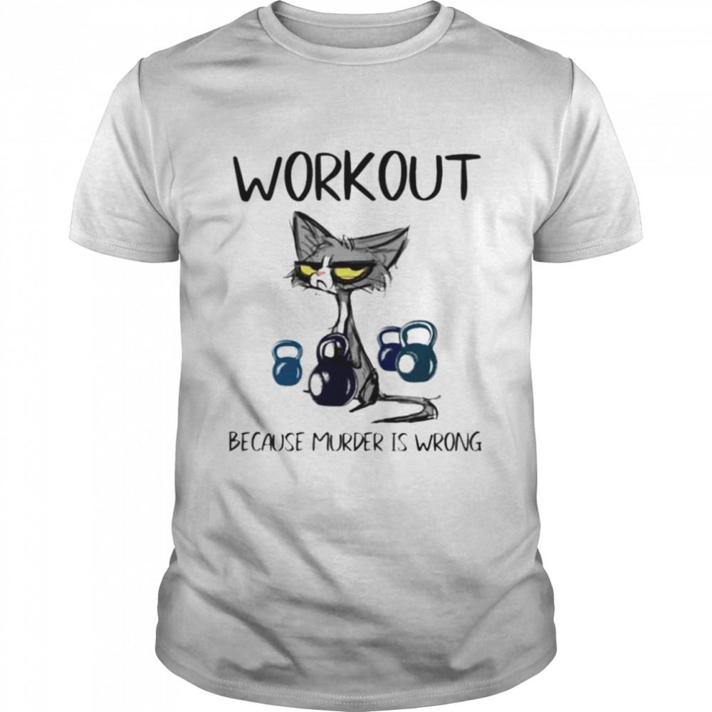 Cat workout because murder is wrong shirt Classic Men's T-shirt