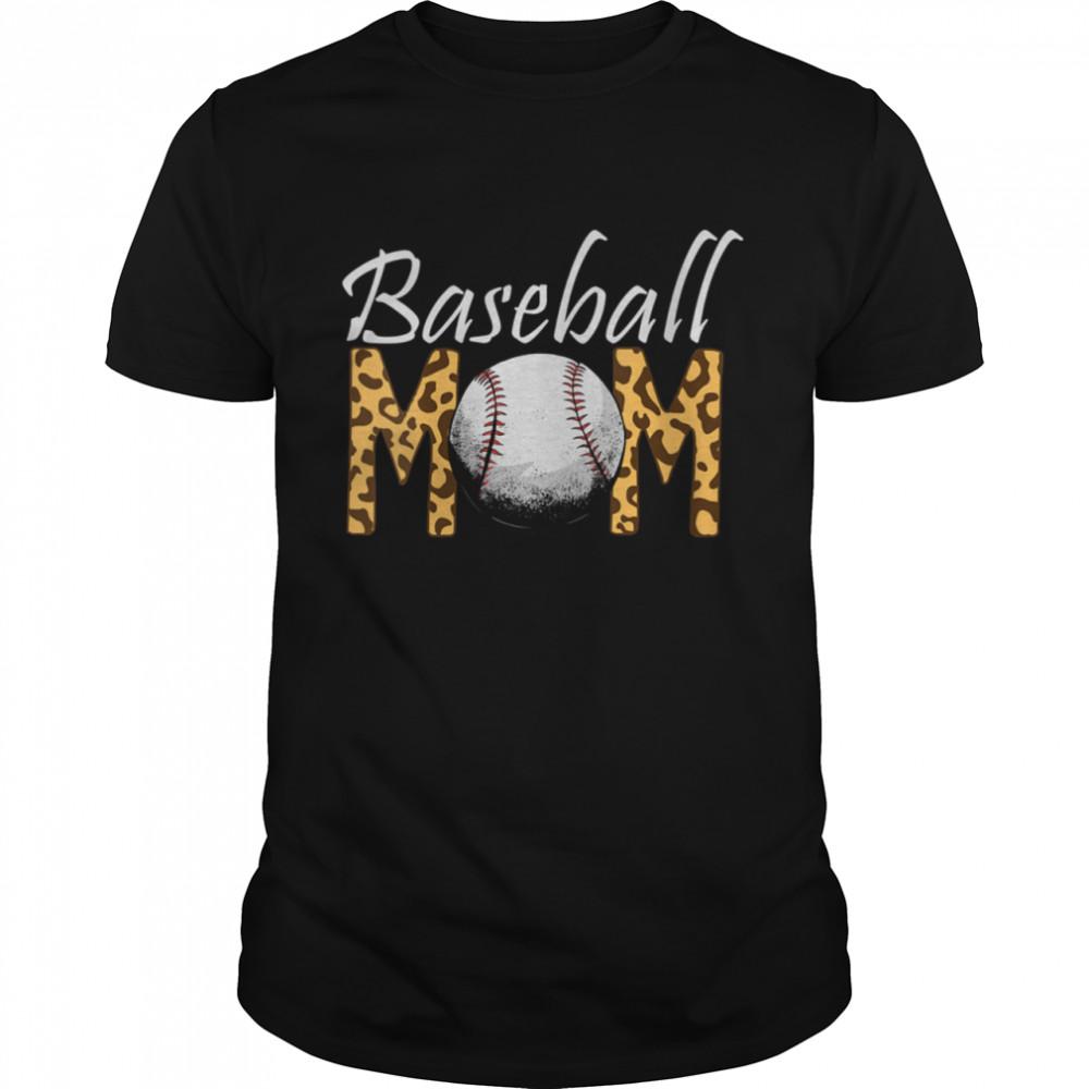 Mom Of Baseball Player Mothers Day Softball Leopard Baseball shirt Classic Men's T-shirt