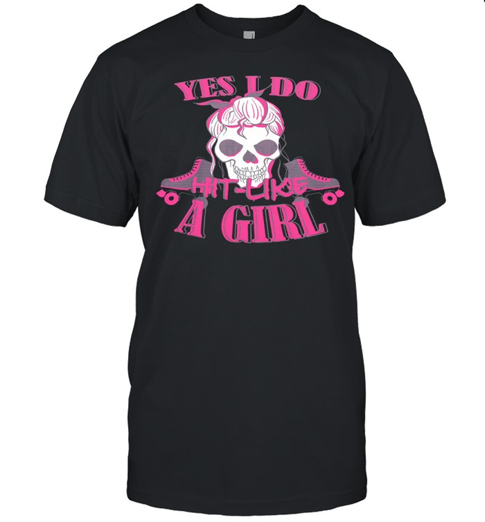 Skull yes I do hit like a girl shirt Classic Men's T-shirt