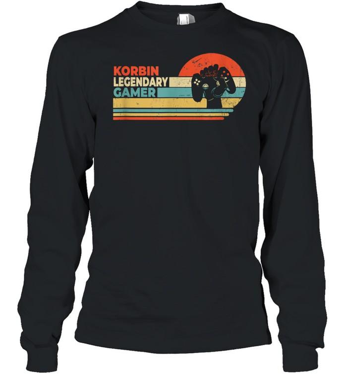 Korbin Legendary Gamer Personalized First  Long Sleeved T-shirt