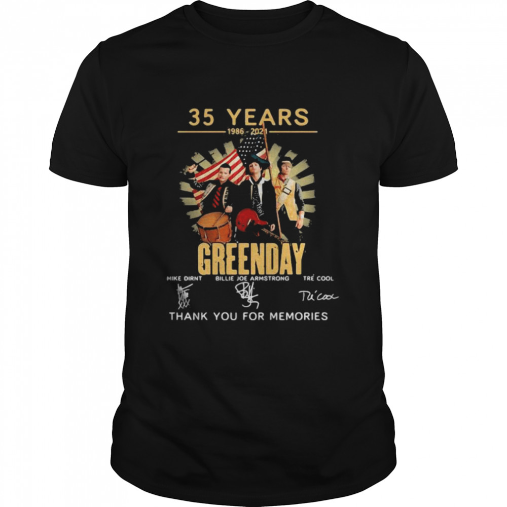 35 Years 1986 2021 Greenday Thank You For The Memories Signature  Classic Men's T-shirt