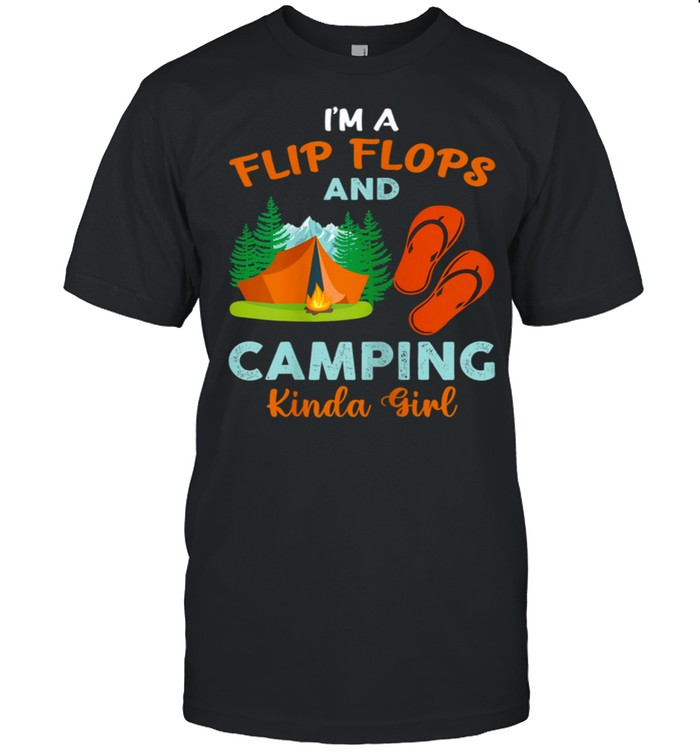 Retro I'm A Flip Flops And Camping Kinda Girl Camping Trees shirt Classic Men's T-shirt