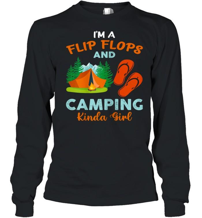 Retro I'm A Flip Flops And Camping Kinda Girl Camping Trees shirt Long Sleeved T-shirt