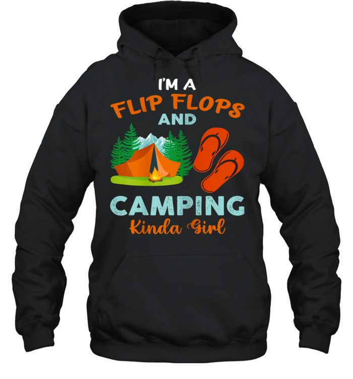 Retro I'm A Flip Flops And Camping Kinda Girl Camping Trees shirt Unisex Hoodie
