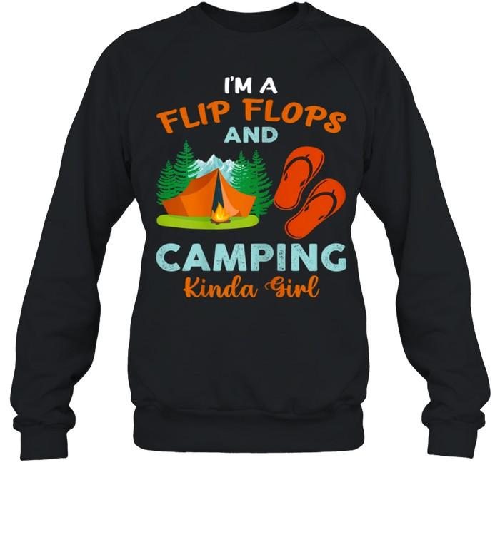 Retro I'm A Flip Flops And Camping Kinda Girl Camping Trees shirt Unisex Sweatshirt