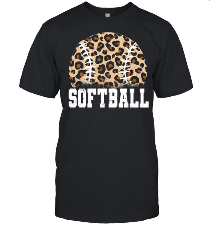 Softball Leopard Print Distressed Logo shirt Classic Men's T-shirt