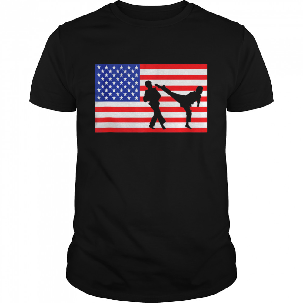 Taekwondo Fighter USA American Flag Sparring 4th Of July shirt Classic Men's T-shirt