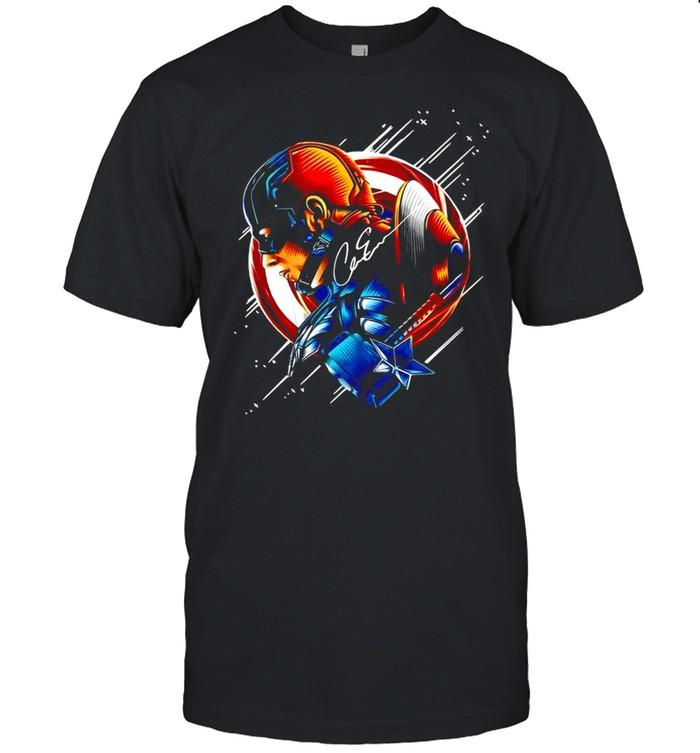 Chris Evans Captain America Star Light Color Signature T-shirt Classic Men's T-shirt