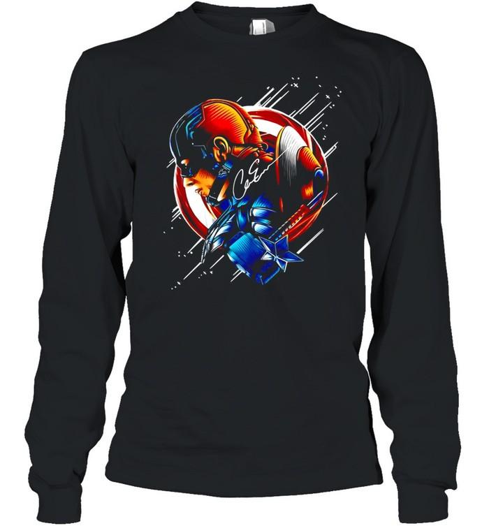 Chris Evans Captain America Star Light Color Signature T-shirt Long Sleeved T-shirt