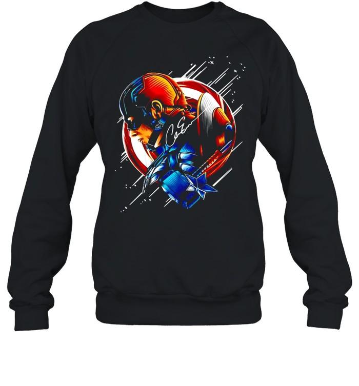 Chris Evans Captain America Star Light Color Signature T-shirt Unisex Sweatshirt