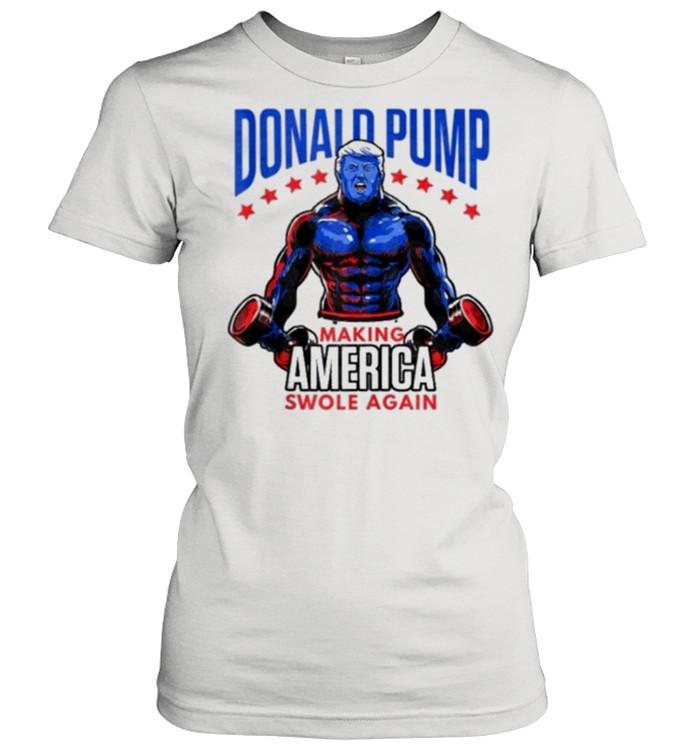 Donald trump making america swole again american flag shirt Classic Women's T-shirt