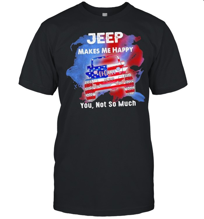 Jeep Makes Me Happy You Not So Much American Flag  Classic Men's T-shirt