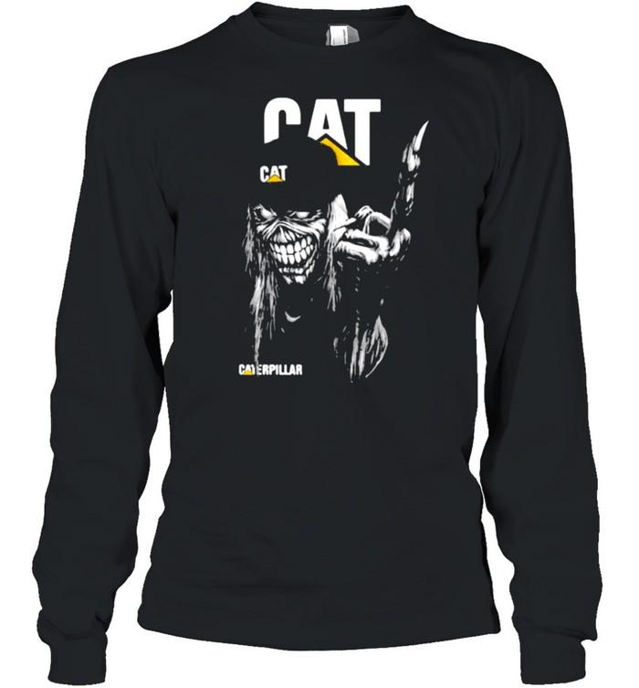 Skull With Caterpillar Logo  Long Sleeved T-shirt