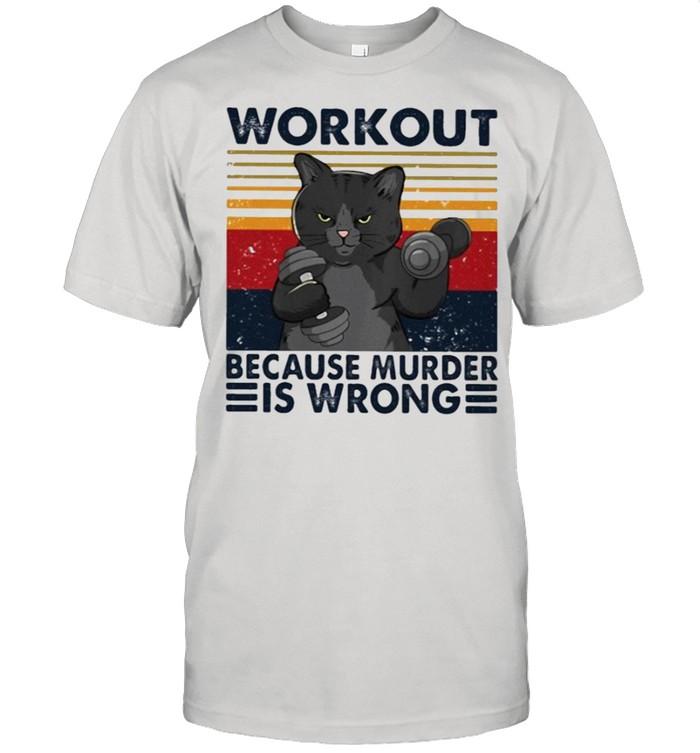Black cat workout because murder is wrong shirt Classic Men's T-shirt