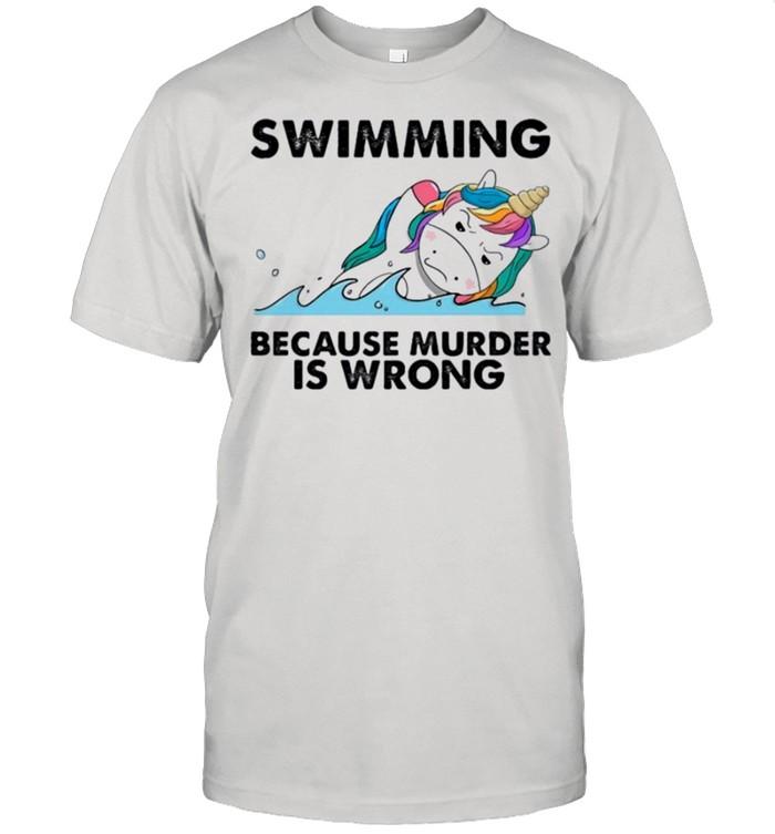 Unicorn swimming because murder is wrong shirt Classic Men's T-shirt