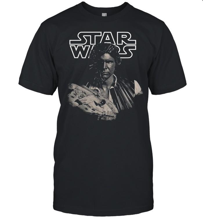 Star Wars Han Solo Millennium Falcon Portrait  Classic Men's T-shirt