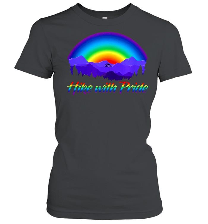 Hike with pride rainbow sunset shirt Classic Women's T-shirt
