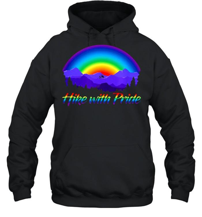 Hike with pride rainbow sunset shirt Unisex Hoodie