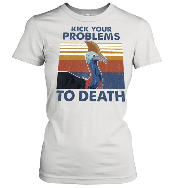 Cassowary Kick Your Problems To Death Vintage Retro T-shirt Classic Women's T-shirt