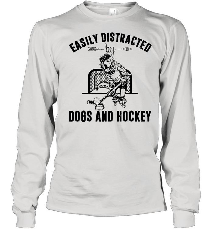easily distracted dog and hockey shirt Long Sleeved T-shirt