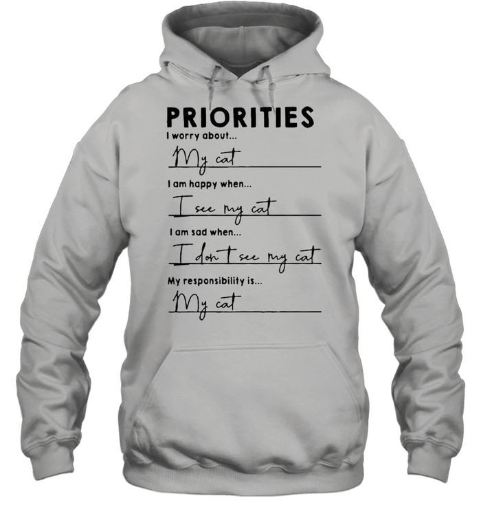 Priorities I worry about I am happy when I see my cat shirt Unisex Hoodie