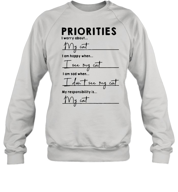 Priorities I worry about I am happy when I see my cat shirt Unisex Sweatshirt