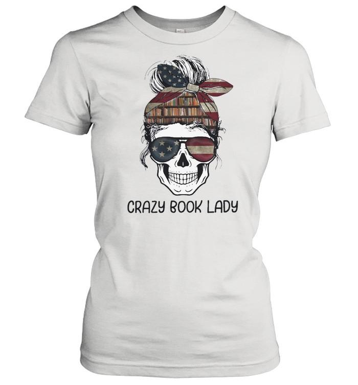 Skull girl crazy book crazy shirt Classic Women's T-shirt