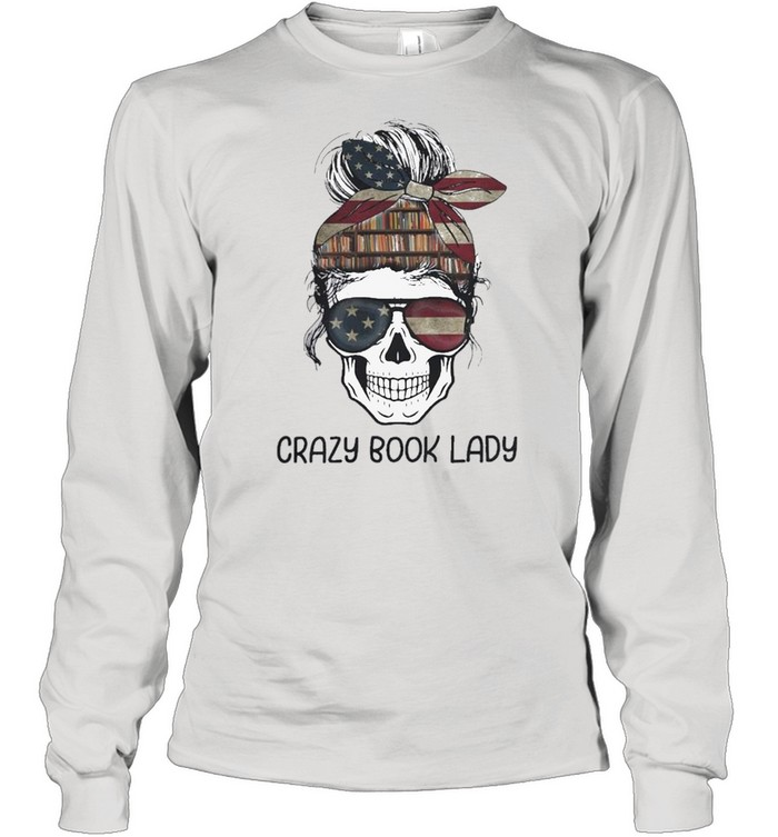 Skull girl crazy book crazy shirt Long Sleeved T-shirt