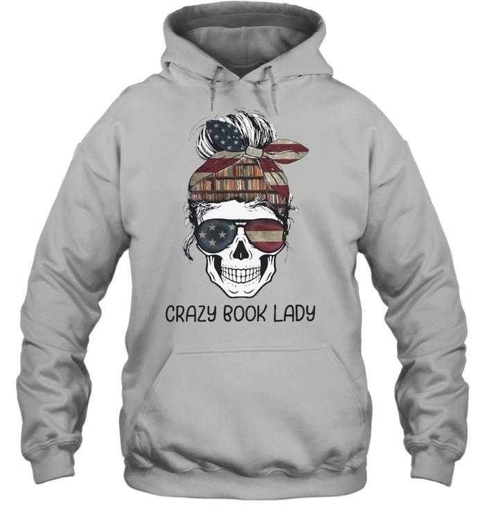 Skull girl crazy book crazy shirt Unisex Hoodie