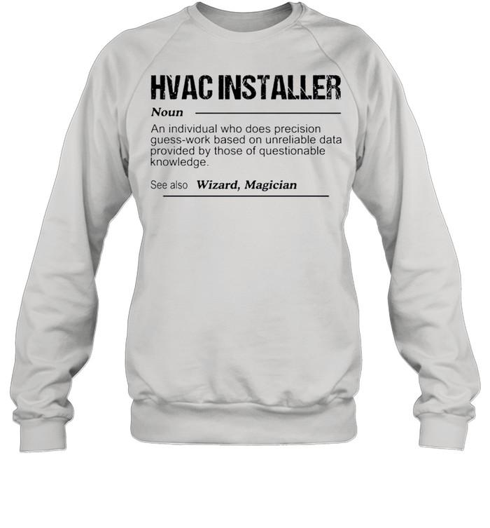 Hvac installer noun an individual who does precision guess shirt Unisex Sweatshirt