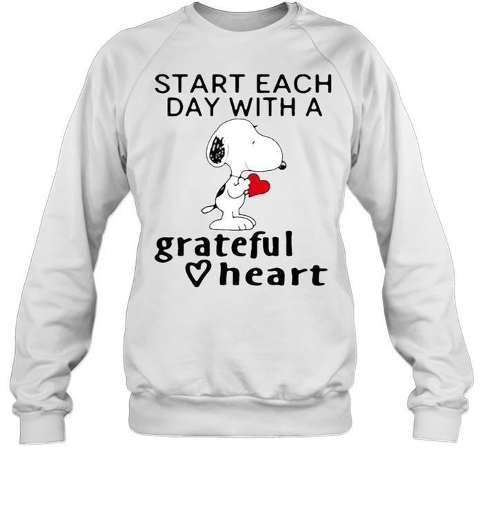 Start each day with a grateful heart snoopy shirt Unisex Sweatshirt
