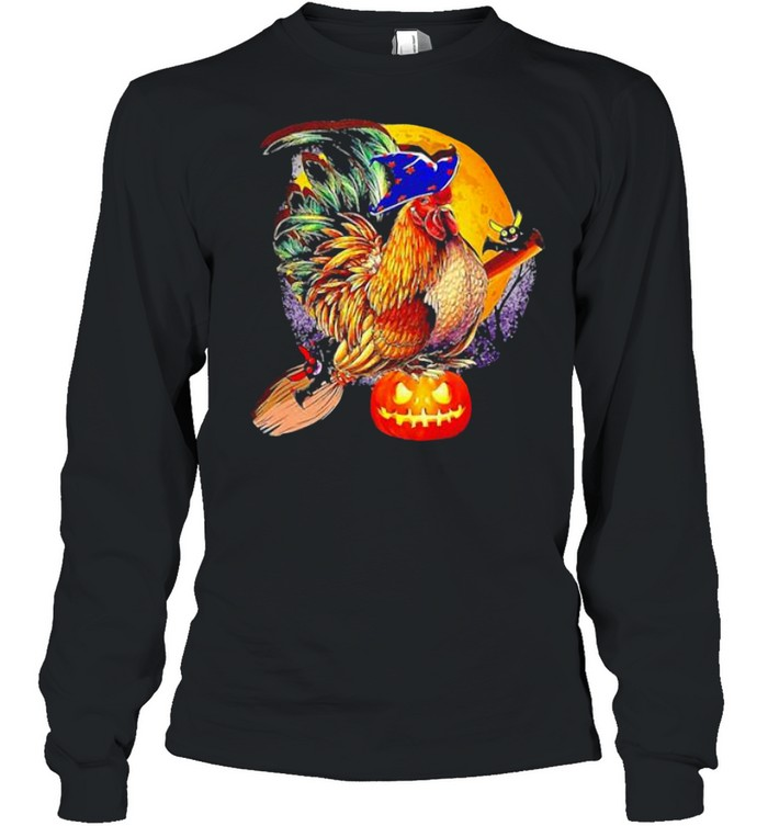 ROOSTER WITCH HAPPY HALLOWEEN SHIRT Long Sleeved T-shirt