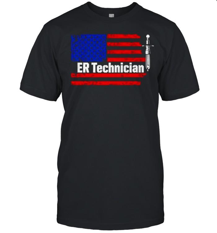 ER Technician Emergency Room Tech Vaccine Usa Flag T- Classic Men's T-shirt