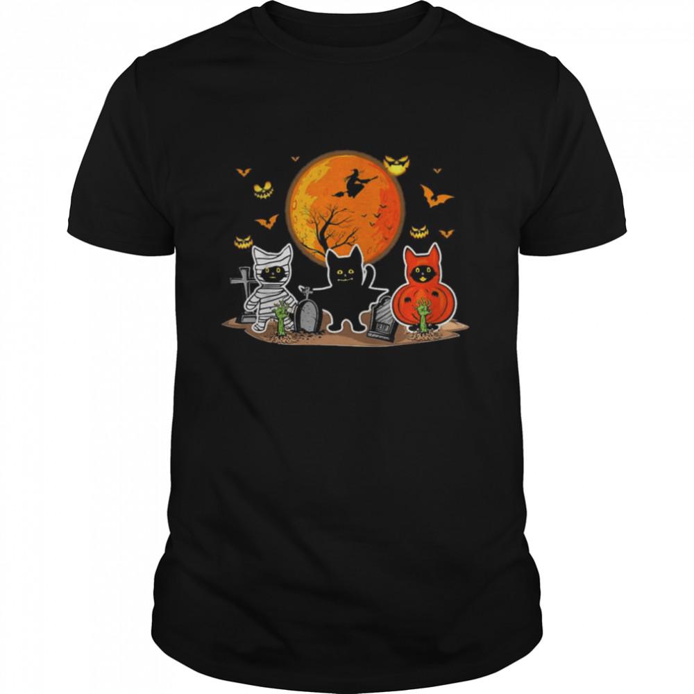Black Cats Moon Pumpkin Witch Halloween  Classic Men's T-shirt