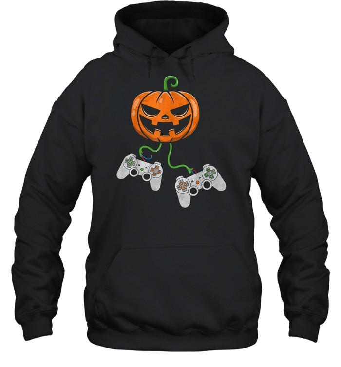Halloween Video Game Controller Pumpkin shirt Unisex Hoodie