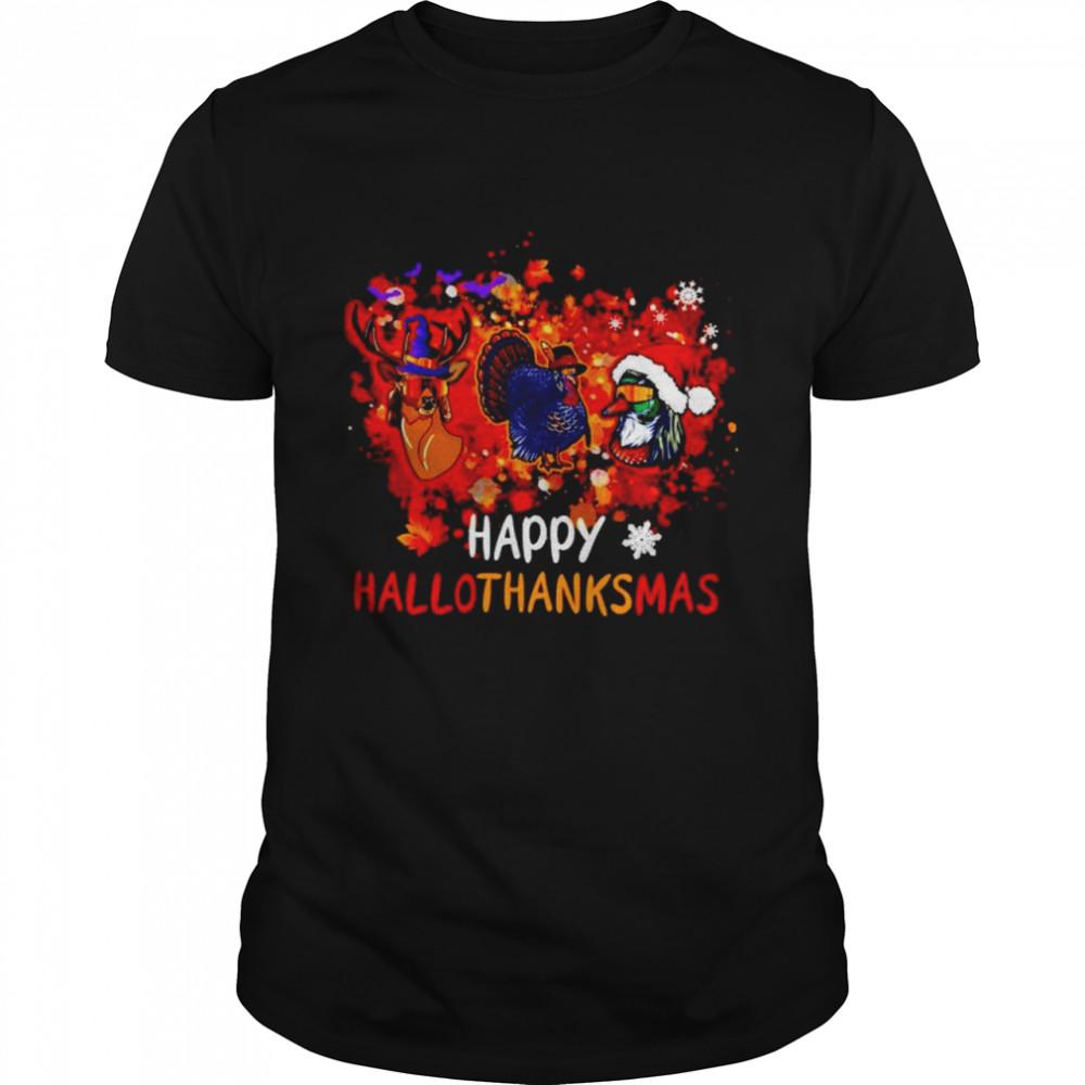 Awesome hunting happy Hallothanksmas Halloween Thanksgiving Christmas shirt Classic Men's T-shirt