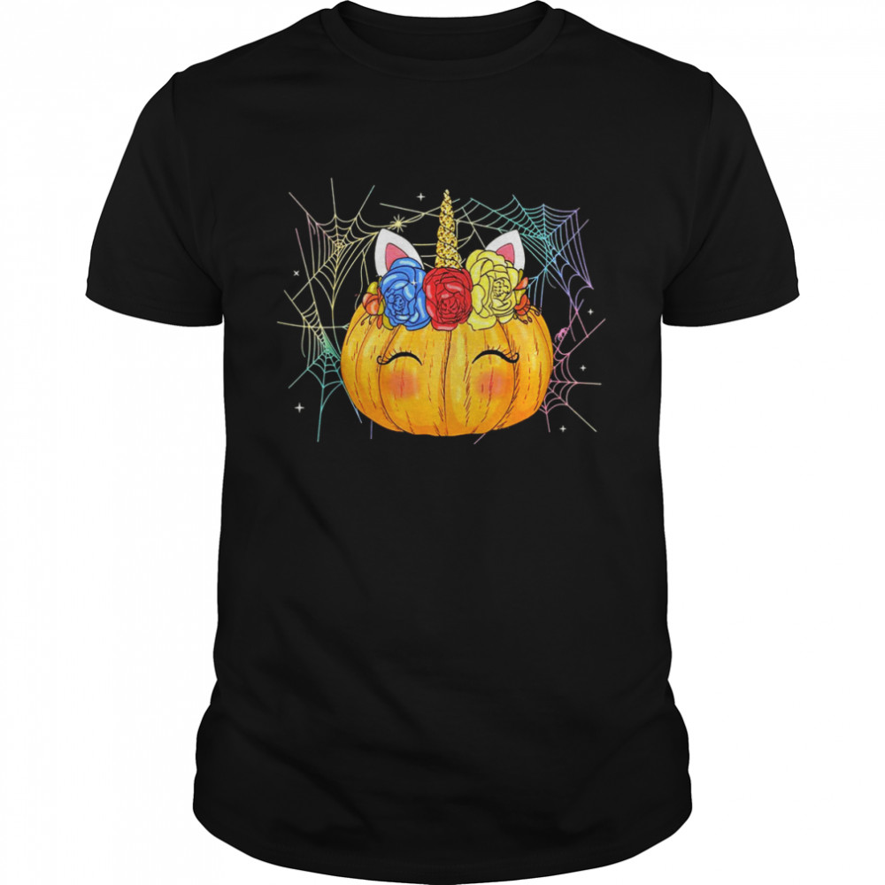 Unicorn Pumpkin Halloween & Thanksgiving Girls  Classic Men's T-shirt