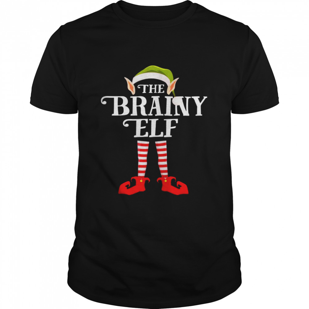 Brainy Elf Christmas Party Matching Family Group Pajama  Classic Men's T-shirt