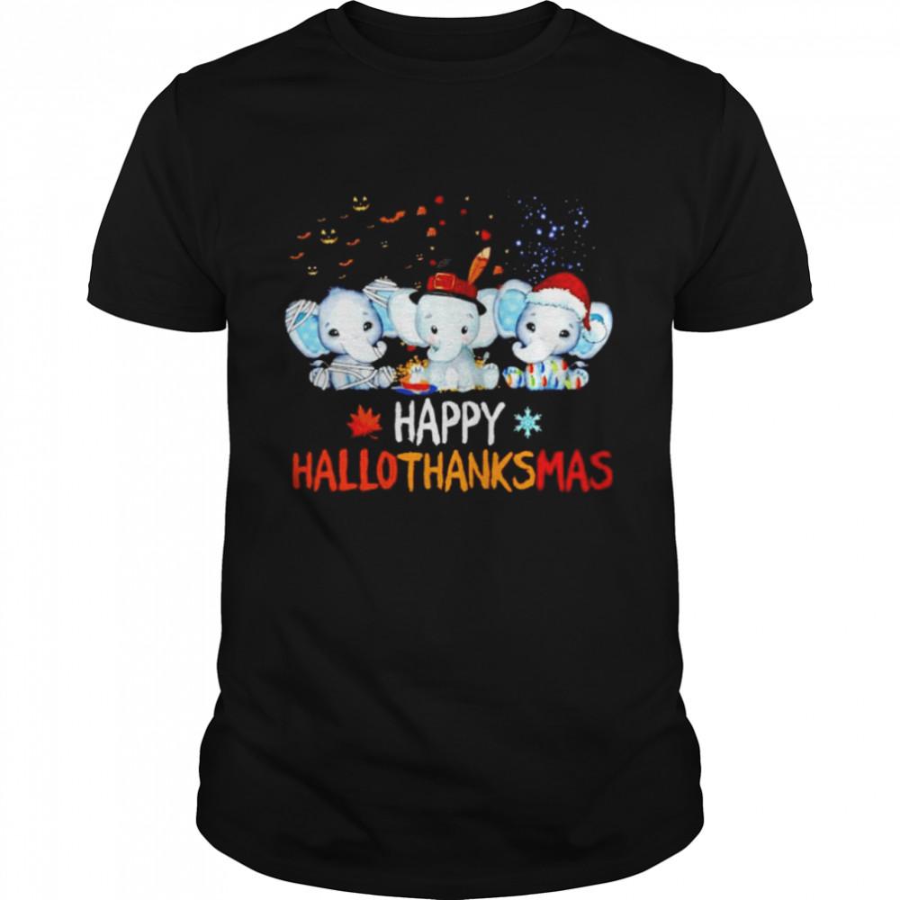 elephant happy Hallothanksmas Halloween Thanksgiving Xmas shirt Classic Men's T-shirt