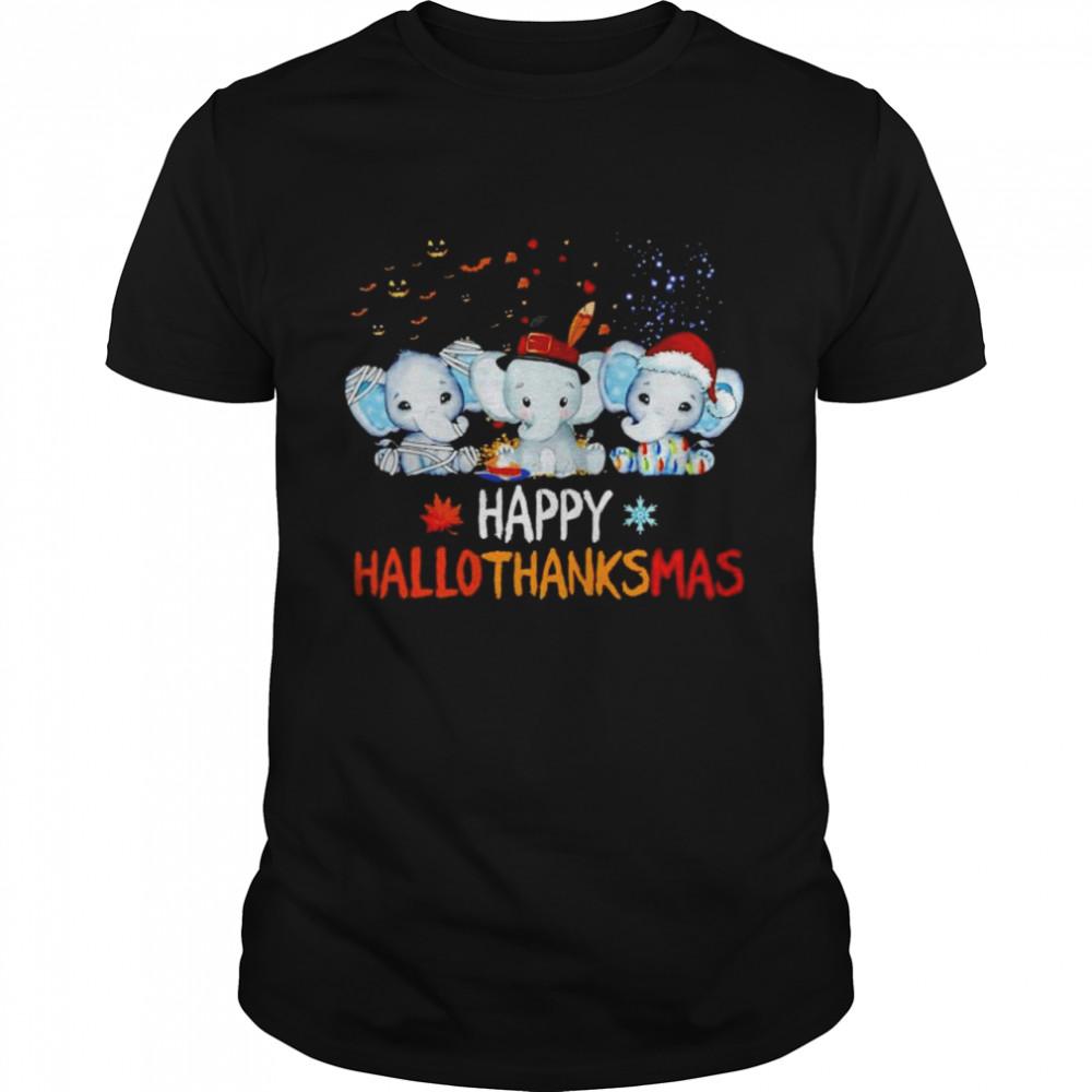 Premium elephant happy Hallothanksmas Halloween Thanksgiving Xmas shirt Classic Men's T-shirt