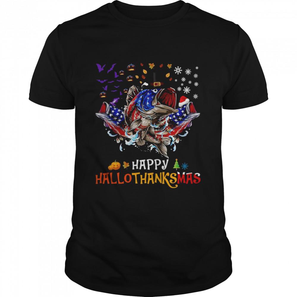 Happy Hallothanksmas Fish Fishing Halloween Thanksgiving  Classic Men's T-shirt