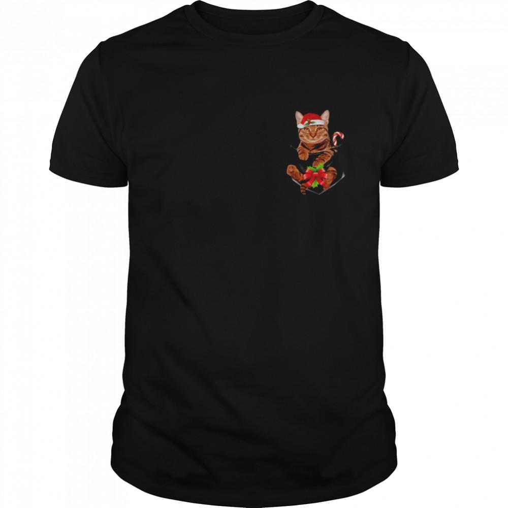 Cat Tiger Santa Hat In Pocket Christmas Cats Pajama  Classic Men's T-shirt