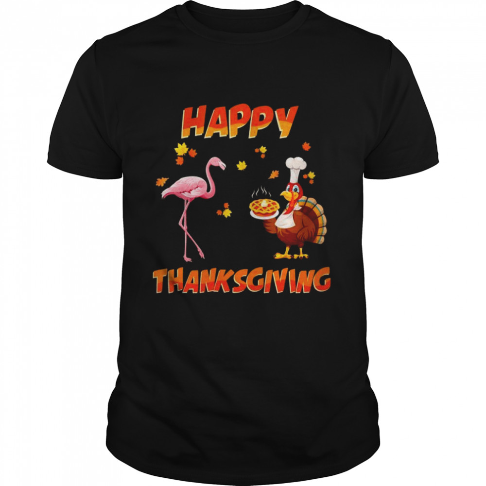Happy Thanksgiving Dinner Flamingo And Turkey Friends  Classic Men's T-shirt