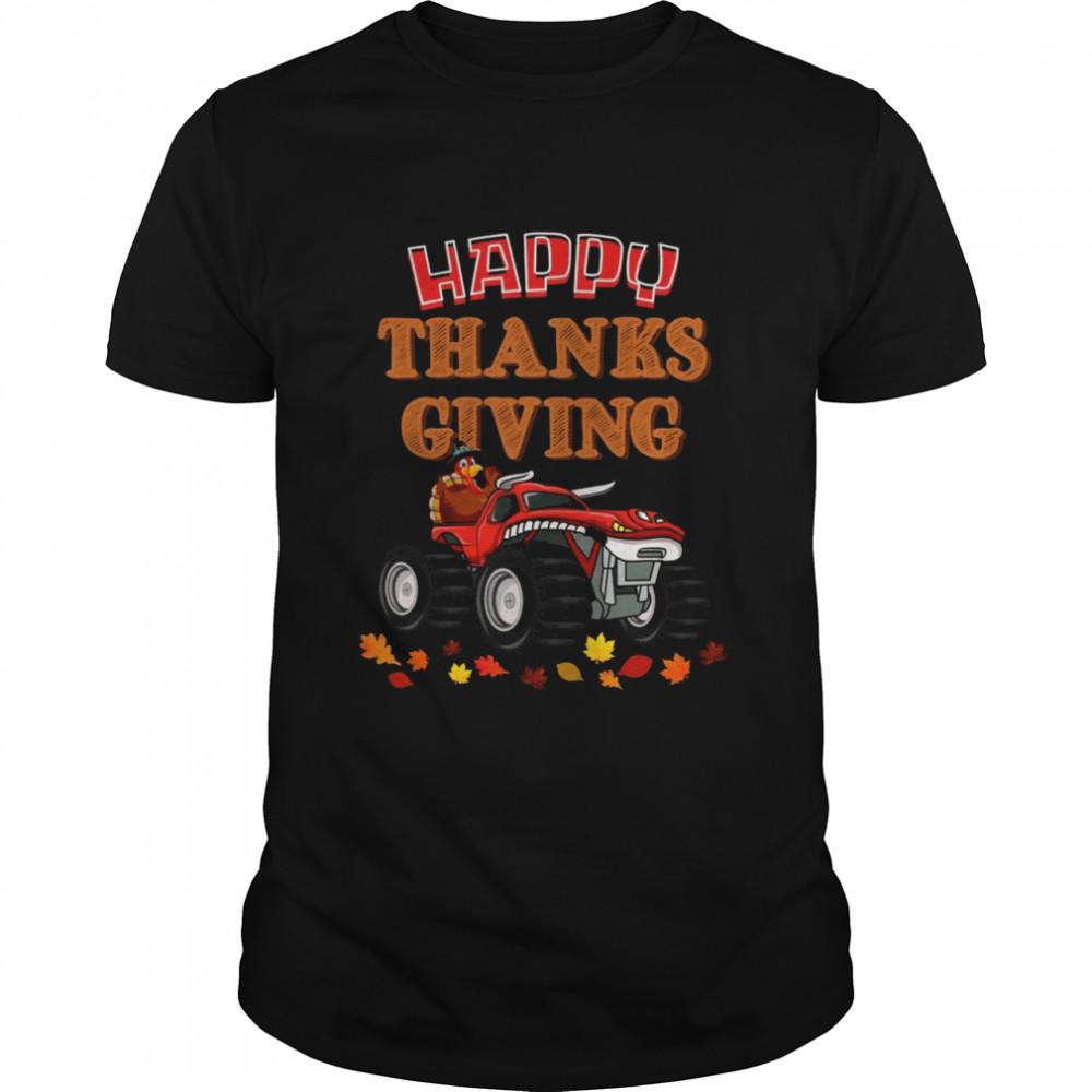 Happy Thanksgiving Turkey Turkey Riding Monster Truck  Classic Men's T-shirt